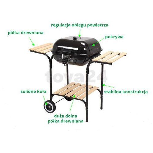 Toya Grill ogrodowy węglowy z pokrywą i drewnianymi półkami, 40x45cm / 99581 / - zyskaj rabat 30 zł - OKAZJE