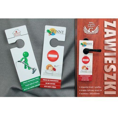 Zawieszki na klamkę hotelową - plastikowe, wodoodporne - wymiary: 285x95mm - druk UV - produkt z kategorii- Podziękowania dla rodziców i gości