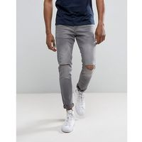 skinny jeans with knee rips in dark grey wash - grey, River island