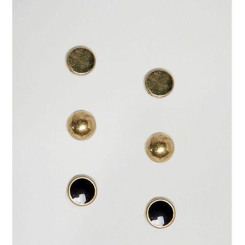 round flat earrings in 3 pack - multi marki Icon brand