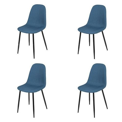 Zestaw 4 krzeseł w kolorze ciemnoniebieskim stalowe nogi - cilla marki Qazqa