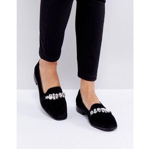 London Rebel Jewelled Chain Slipper Shoe - Black