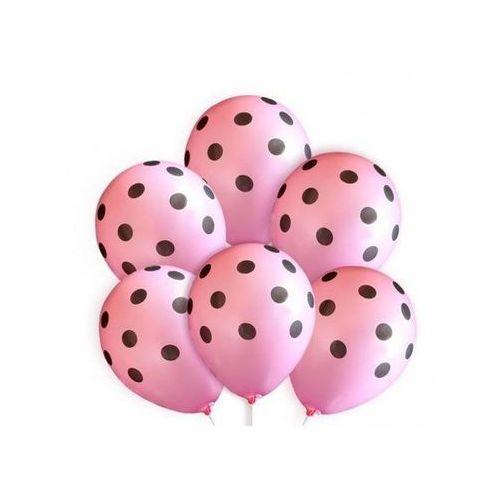 Dp Balony różowe w czarne kropki - 30 cm - 5 szt.