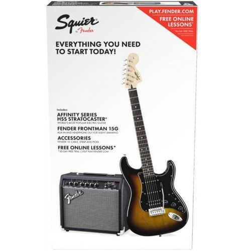 affinity series stratocaster hss pack, laurel fingerboard, brown sunburst, 230v eur gitara elektryczna zestaw marki Fender