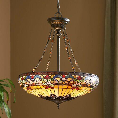 Lampa wisząca witrażowa tiffany belle fleur qz/bellefleur/p - lighting - rabat w koszyku marki Elstead