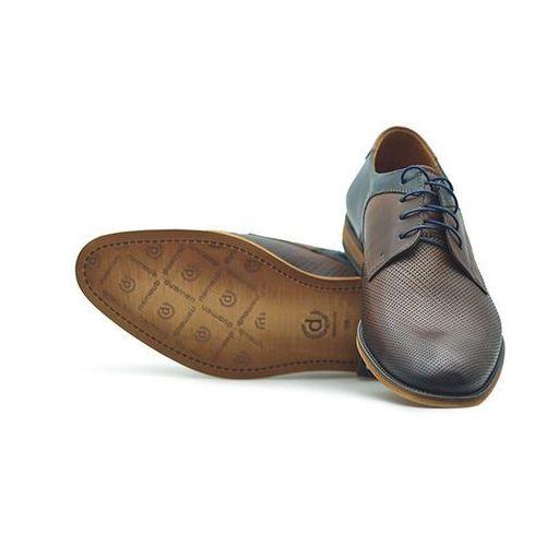 Pantofle Duo Men 0737V Brąz palony + granat, kolor niebieski
