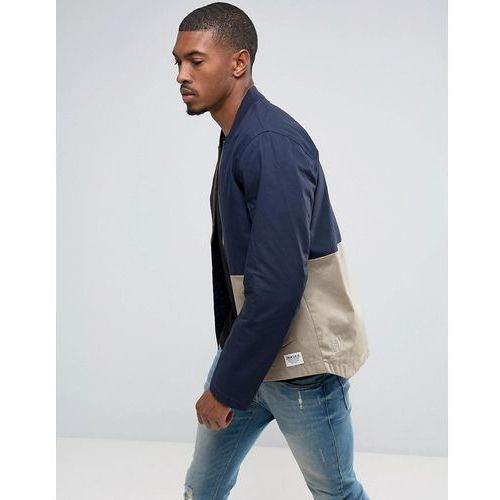 bomber jacket with open hem and colour panel detail - navy, Tom tailor