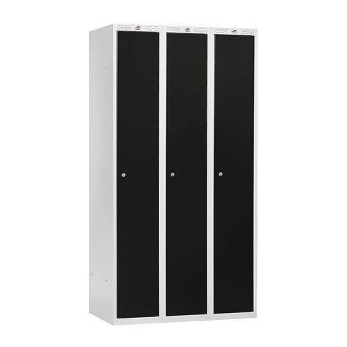 Szafa ubraniowa classic, 3 moduły, 1740x900x550 mm, czarny marki Aj produkty