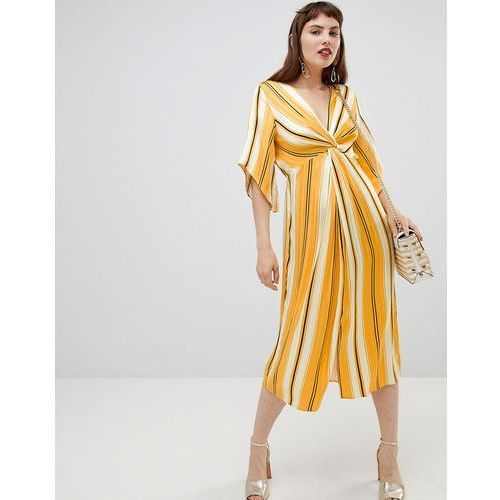 smock midi dress with knot detail in stripe - yellow, River island