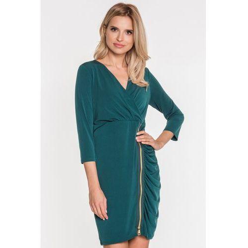 Margo collection Zielona sukienka z ozdobnym suwakiem -