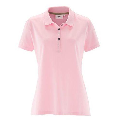 Shirt polo z bawełny pique bonprix pudrowy jasnoróżowy, w 8 rozmiarach