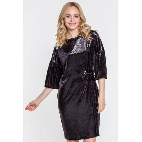 Połyskująca, czarna sukienka - Margo Collection, 1 rozmiar