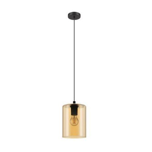 Eglo cadaques 1 98584 lampa wisząca zwis oprawa 1x40w e27 czarna/ szkło bursztynowe