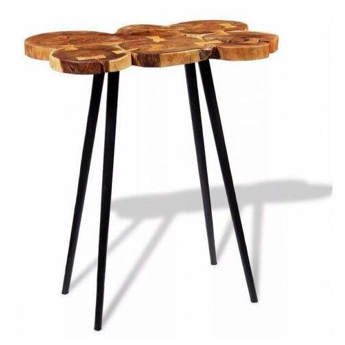 Okrągły stolik plastry drewna – matel 3x marki Elior