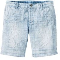 "Bermudy dżinsowe regular fit niebieski ""bleached used"" w kratę, Bonprix"