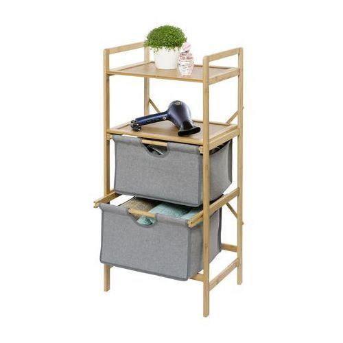 Wenko Bambusowa szafka bahari, 2 półki, 2 wysuwane szuflady, trwały materiał odporny na wilgoć, przechowywanie, porządkowanie, brązowy,