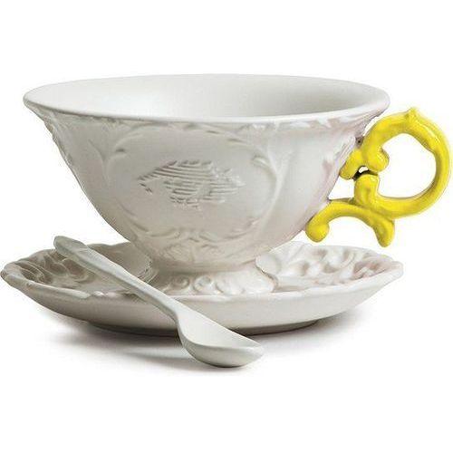 Filiżanka do herbaty ze spodkiem i łyżeczką I-Tea żółta, 09858gia