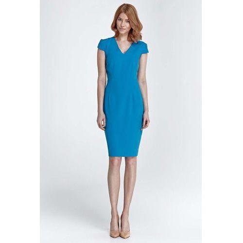 Turkusowy Dopasowana Klasyczna Sukienka z Dekoltem V, kolor niebieski