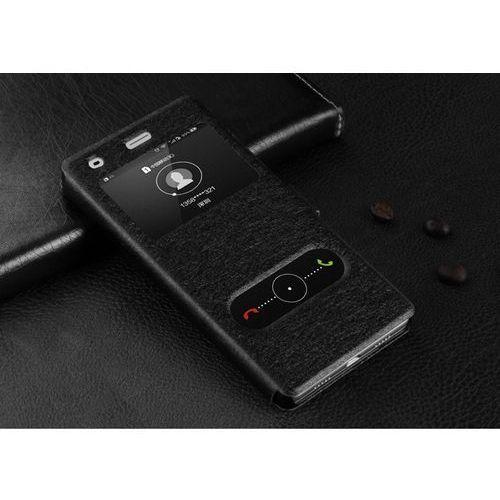 Skórzane etui z klapką - Samsung Galaxy S7 Edge (czarne) - Czarny \ Samsung Galaxy S7 Edge