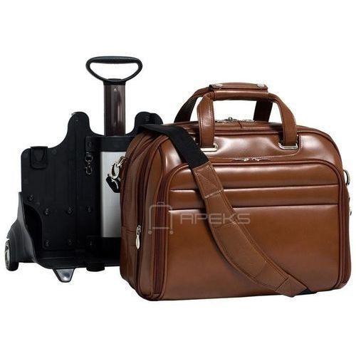 """midway skórzana torba z dopinanym stelażem na kółkach na laptopa 17"""" - brązowy marki Mcklein"""