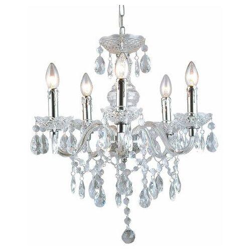 Lampa wisząca Italux Whiz L.90690/5CLE świecznikowa z kryształami zwis 5X60W E14 transparentny, L.90690/5CLE