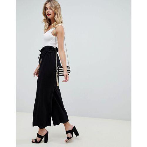 paper bag wide leg trousers - black marki Boohoo
