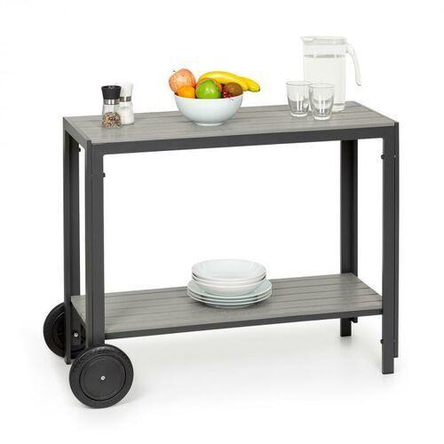 Blumfeldt menorca roll, stół do serwowania, 2 kółka, polywood, aluminium, tekowy