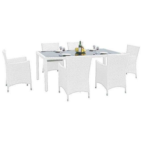 Bello giardino Zestaw mebli ogrodowych stół i krzesła kontur z tehnorattanu biały