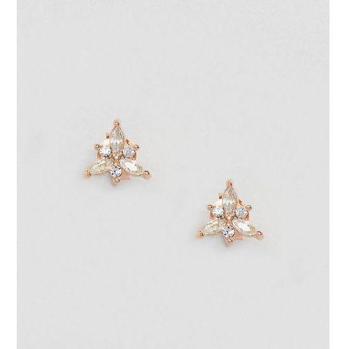 Kingsley ryan rose gold plated floral rhinestone stud earrings - gold
