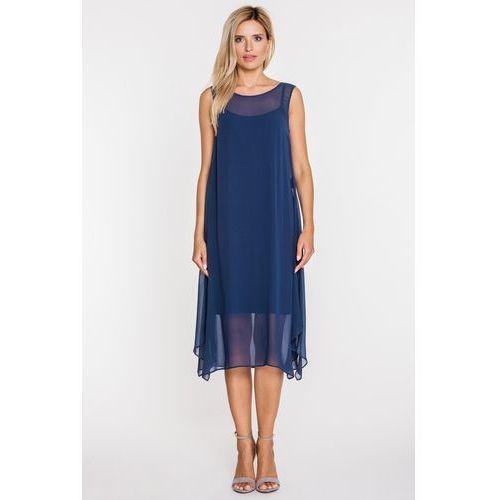 Granatowa sukienka z szyfonową warstwą - Bialcon