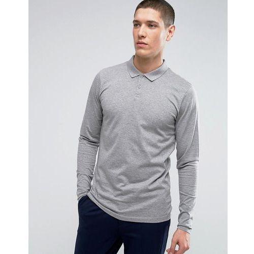 premium long sleeve polo in texture - grey marki Jack & jones