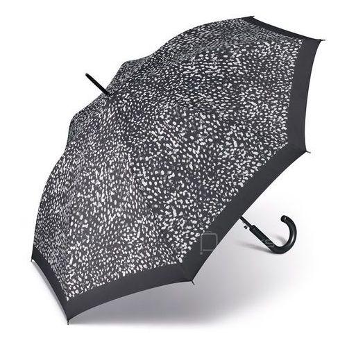 Happy Rain Essentials Classic długi damski parasol automatyczny Long AC - czarny w białe centki