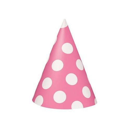 Czapeczki urodzinowe różowe w białe kropki - 8 szt. (0011179603954)
