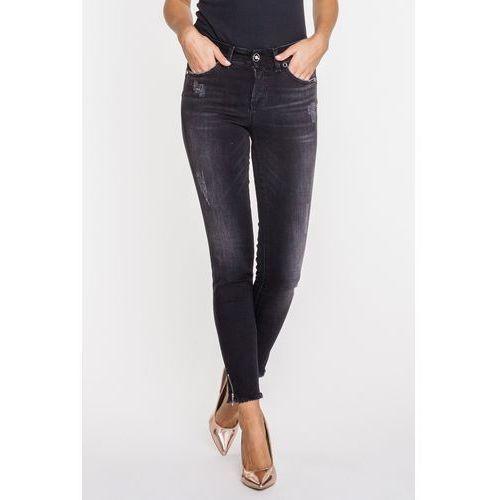 Rj rocks jeans Antracytowe, przecierane jeansy z frędzlami -