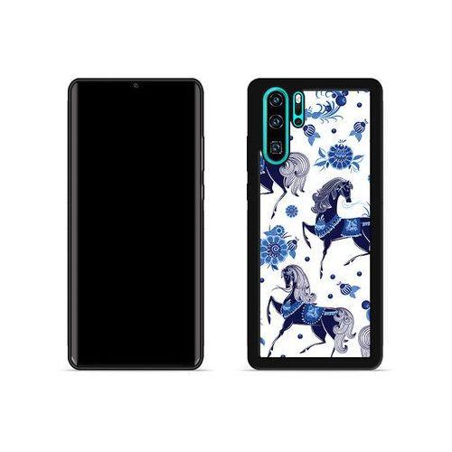 Huawei p30 pro - etui na telefon aluminum fantastic - folkowe niebieskie konie marki Etuo aluminum fantastic