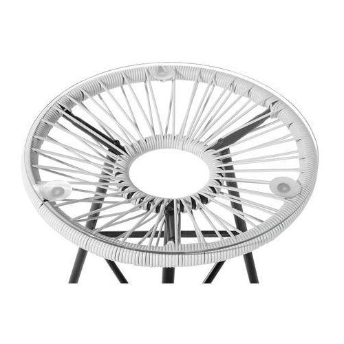 Meble rattanowe stół z 2 krzesłami białe ACAPULCO (7081454770995)