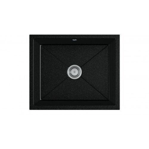 Eos Zlewozmywak granitowy podwieszany desk czarny nakrapiany