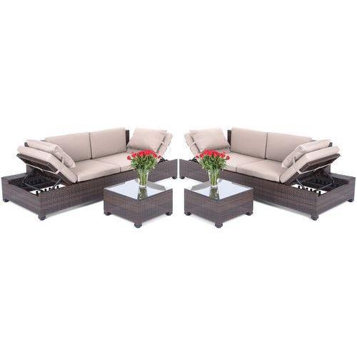 Home&garden Meble ogrodowe technorattanowa sofa milano 2 w 1 brown/taupe + darmowy transport!