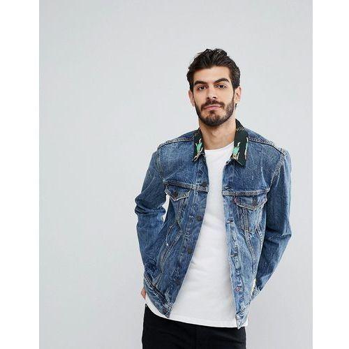 Levis Levi's denim trucker jacket with hawaiian collar - blue