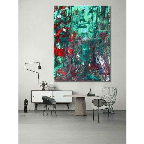 Abstrakcyjne zielenie- efektowny duży obraz nowoczesny 100x150cm