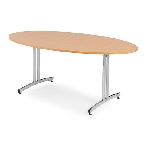 Stół do stołówki SANNA, owalny, 1000x1800 mm, laminat, buk, chrom