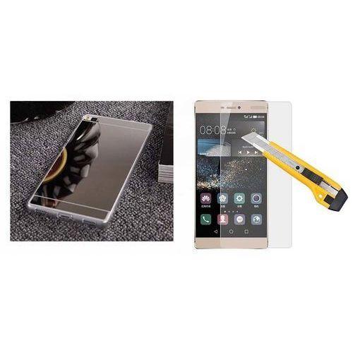Zestaw   Slim Mirror Case Srebrny + Szkło ochronne Perfect Glass   Etui dla Huawei P8