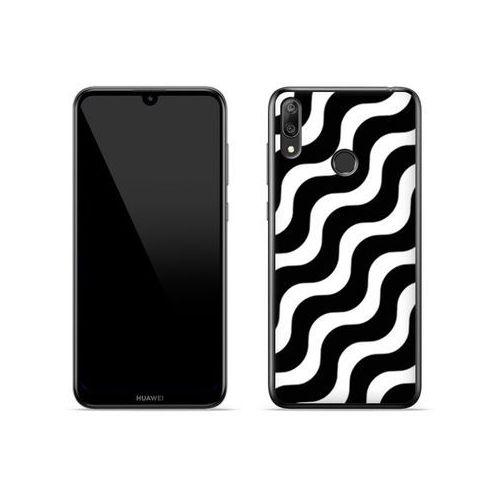 Huawei Y7 Prime (2019) - etui na telefon Fantastic Case - biało-czarna fala