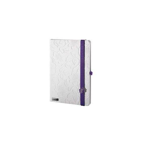 Notes a6 lanybook innocent passion w linie biały z fioletową gumką, marki Lediberg