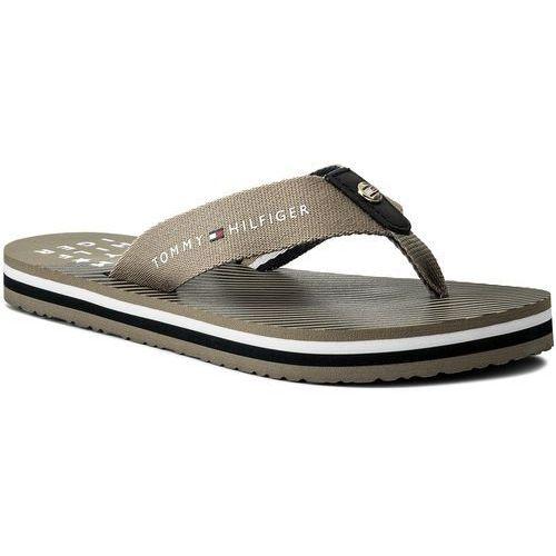 39749291e336b Japonki TOMMY HILFIGER - Essential Stripe Beach Sandal FW0FW02378  Cobblestone 068, kolor beżowy
