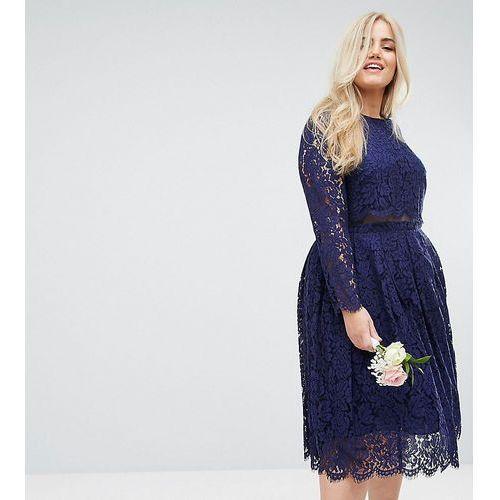 ASOS CURVE WEDDING Lace Long Sleeve Midi Prom Dress - Navy, kolor niebieski