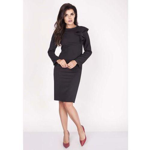 Czarna sukienki ołówkowa midi z falbaną na ramieniu, Nommo, 34-44