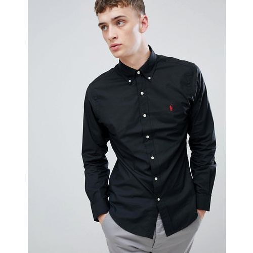 Polo ralph lauren player logo slim fit poplin shirt button-down in black - black