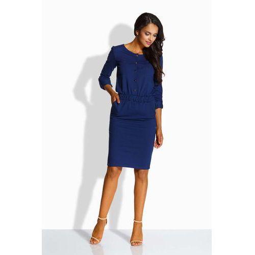 603202375c Granatowa elegancka sukienka zapinana na guziki marki Lemoniade