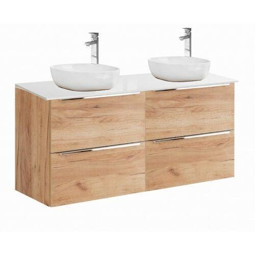 COMAD szafka Capri Oak 2x60 2S dąb craft złoty pod 2 umywalki nablatowe + blat 120 biały połysk CAPRI OAK 2x820 + CAPRI WHITE 892, CAPRIOAK2x820A.CAPRIWHITE892